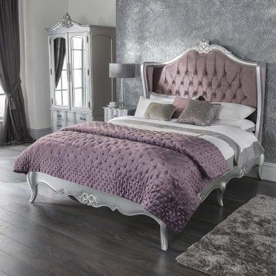 tempat tidur ukir silver