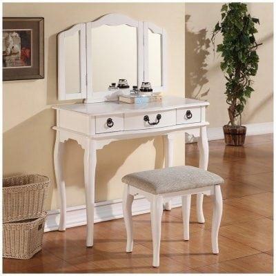 meja rias kayu warna putih