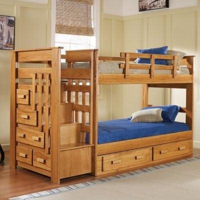 tempat tidur tingkat tangga laci