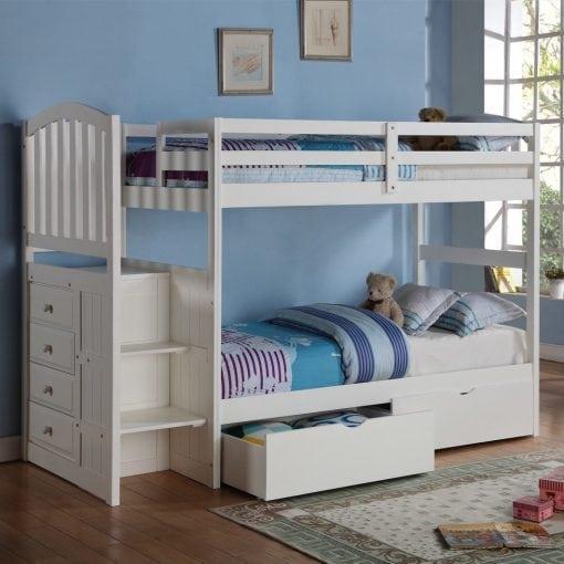 tempat tidur anak tingkat tangga laci
