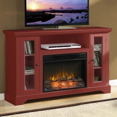 Bufet TV Kayu Warna Merah