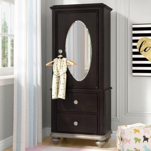 Lemari Pakaian Pintu Satu Kaca Cermin