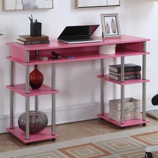 Meja Belajar Warna Pink Rangka Stainless