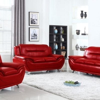 Set Kursi Tamu Sofa Warna Merah